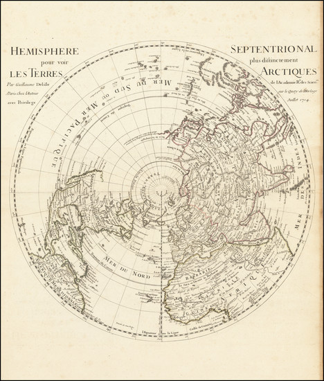 12-Northern Hemisphere, Polar Maps and Pacific Map By Guillaume De L'Isle