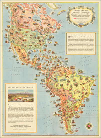 90-North America, South America and Pictorial Maps Map By Standard Oil Company