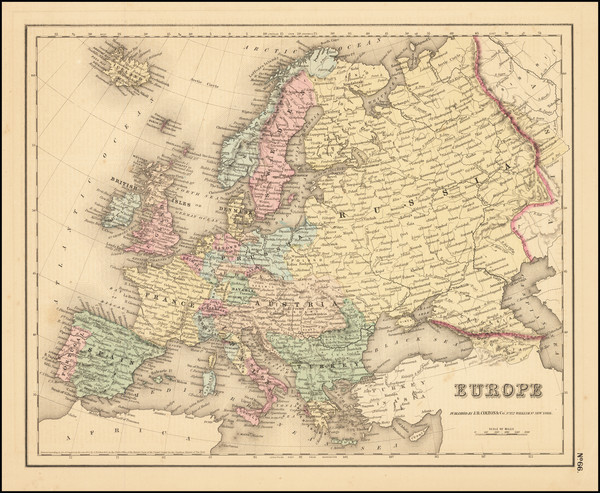 3-Europe Map By Joseph Hutchins Colton
