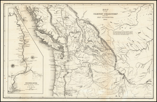 39-Rocky Mountains, Pacific Northwest, Oregon and Washington Map By Charles Wilkes