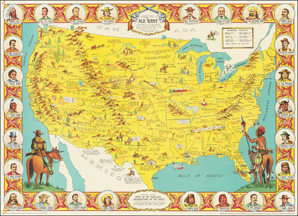 33-United States, South, Texas, Midwest, Plains, Southwest and Pictorial Maps Map By Old Western T