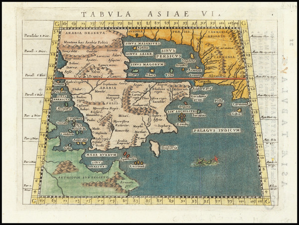 70-Middle East and Arabian Peninsula Map By Giovanni Antonio Magini
