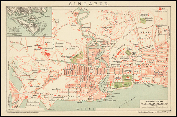 84-Singapore Map By Friedrich Arnold Brockhaus
