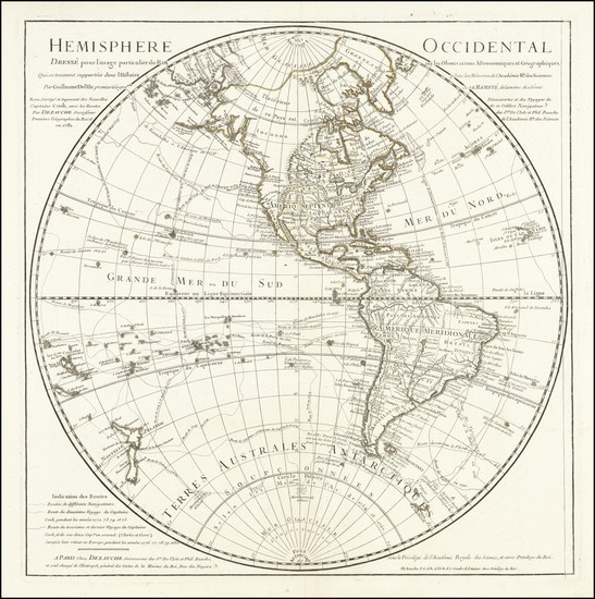 32-Western Hemisphere, Polar Maps, Pacific Ocean, Alaska, Pacific, New Zealand and Canada Map By P
