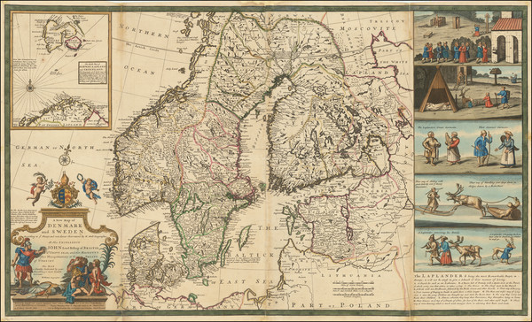 5-Scandinavia, Sweden, Norway and Denmark Map By Herman Moll