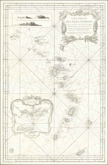 45-Caribbean, Virgin Islands and Other Islands Map By Jacques Nicolas Bellin