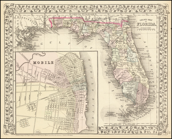 55-Florida and Alabama Map By Samuel Augustus Mitchell Jr.