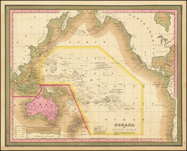 16-Pacific Ocean, Hawaii, Pacific, Australia, Oceania and Hawaii Map By Samuel Augustus Mitchell