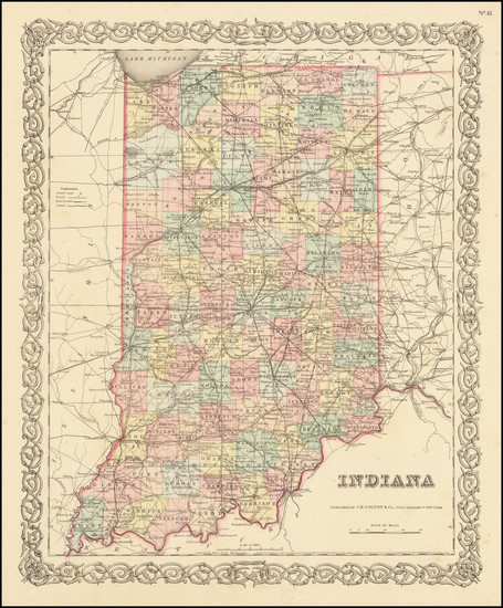 76-Indiana Map By Joseph Hutchins Colton