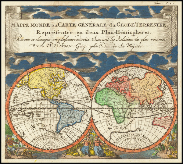 9-World and World Map By Anonymous / Nicolas Sanson