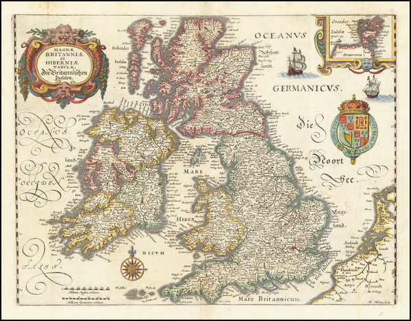 66-British Isles Map By Matthaus Merian