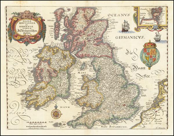 26-British Isles Map By Matthaus Merian
