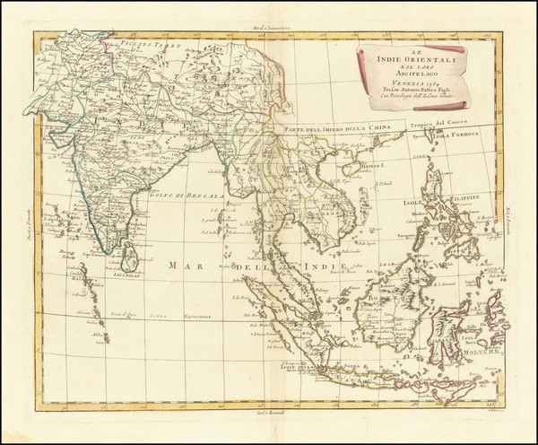 25-India, Southeast Asia, Philippines, Indonesia and Thailand, Cambodia, Vietnam Map By Antonio Za