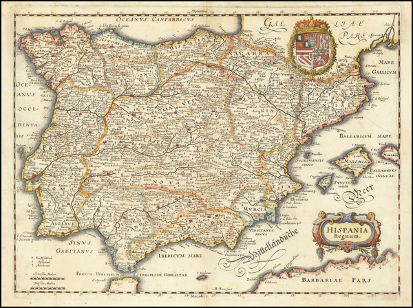 68-Spain and Portugal Map By Matthaus Merian