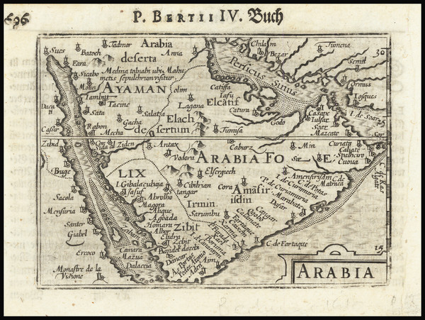 35-Middle East and Arabian Peninsula Map By Petrus Bertius / Barent Langenes