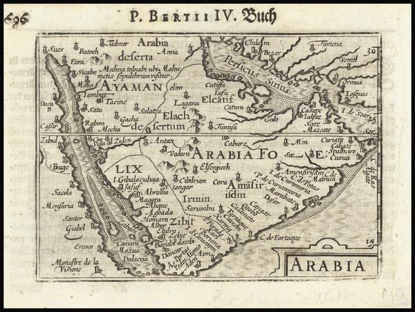 67-Middle East and Arabian Peninsula Map By Petrus Bertius / Barent Langenes