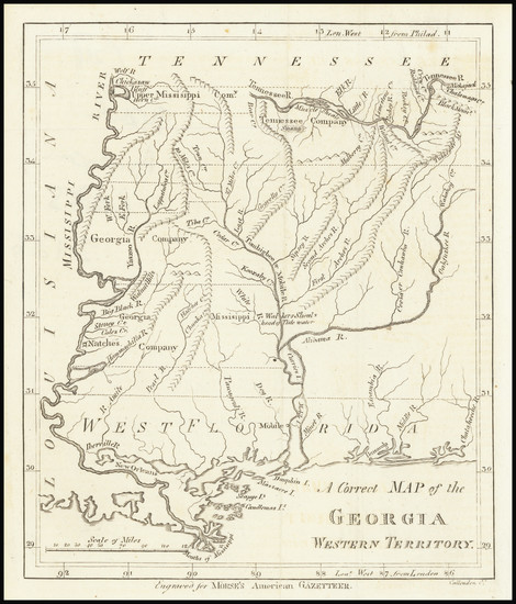 41-South, Alabama, Mississippi and Georgia Map By Jedidiah Morse