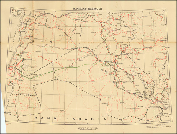 47-Middle East, Holy Land and World War II Map By Survey of India