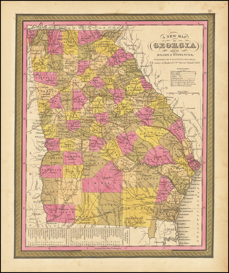 36-Georgia Map By Samuel Augustus Mitchell