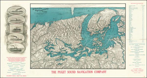 10-Washington and Canada Map By Puget Sound Navigation Company