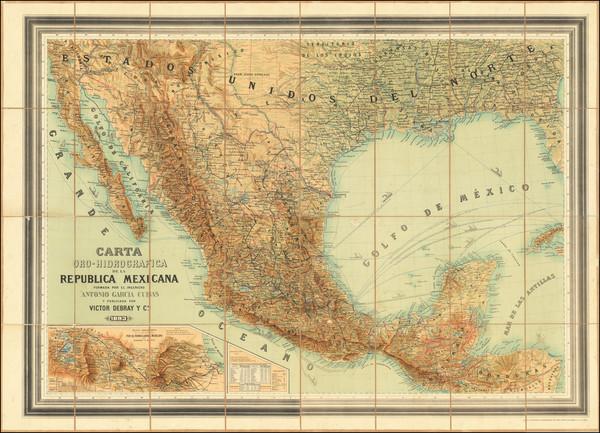 34-Texas and Mexico Map By Antonio Garcia y Cubas