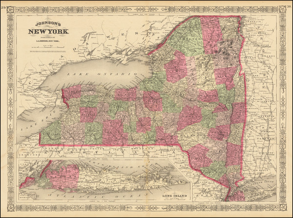 11-New York State Map By Alvin Jewett Johnson