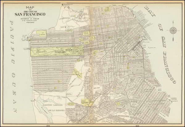 92-San Francisco & Bay Area Map By George F. Cram
