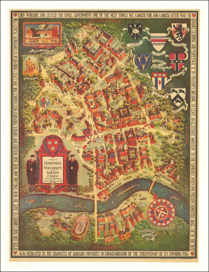 57-Massachusetts, Pictorial Maps and Boston Map By Edwin J. Schruers