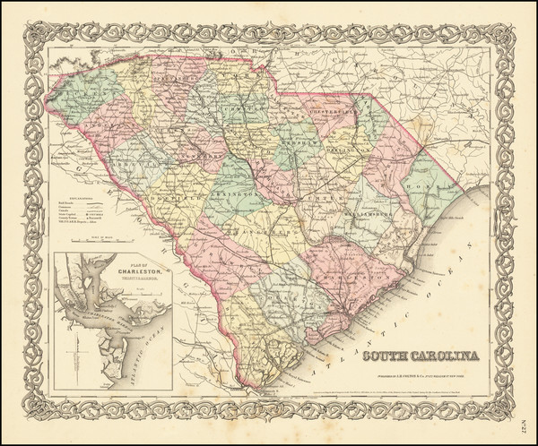 96-South Carolina Map By Joseph Hutchins Colton