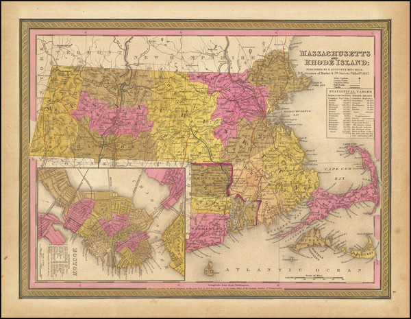 39-Massachusetts, Rhode Island and Boston Map By Samuel Augustus Mitchell