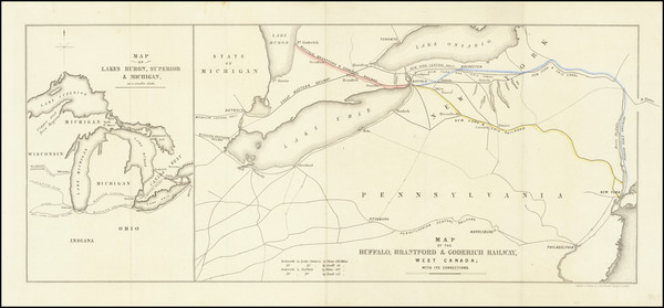 32-New York State, Pennsylvania, Midwest, Ohio, Canada and Eastern Canada Map By Royston & Bro