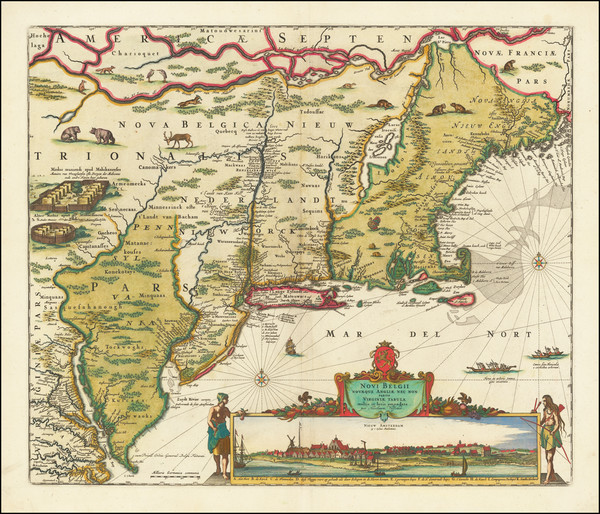 71-New England, New York State, Mid-Atlantic and Virginia Map By Nicolaes Visscher I