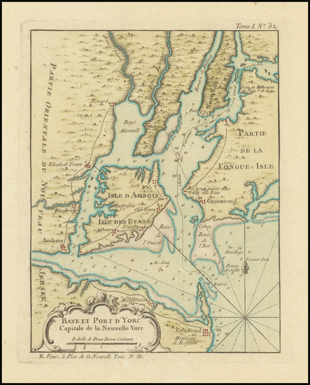 43-New York City and New York State Map By Jacques Nicolas Bellin