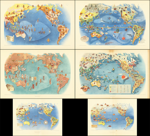61-Pacific Ocean, North America, South America, Southeast Asia, Pacific and Pictorial Maps Map By