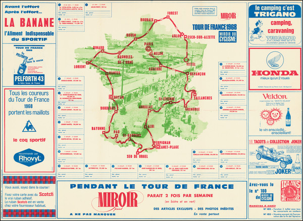 41-France and Pictorial Maps Map By Miroir du Cyclisme