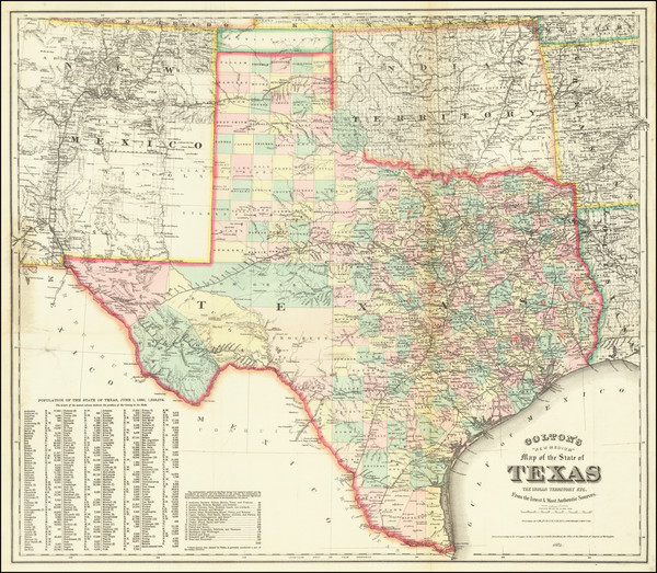 52-Texas Map By G.W.  & C.B. Colton