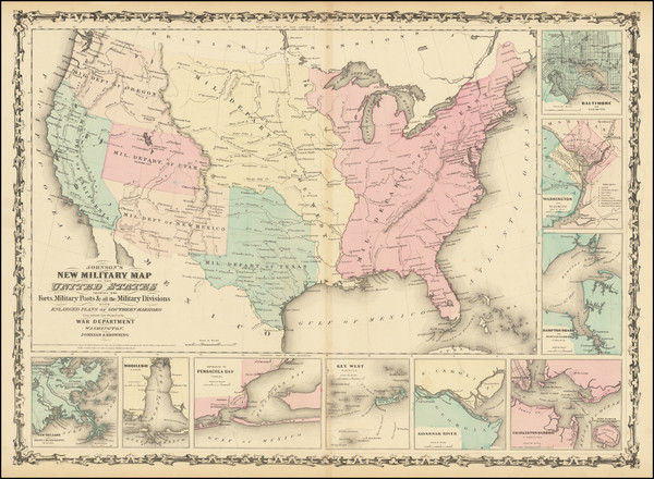 42-United States and Civil War Map By Alvin Jewett Johnson  &  Browning
