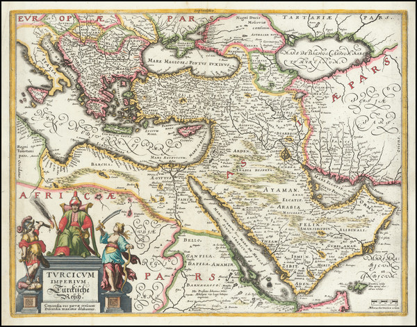 22-Turkey, Middle East, Arabian Peninsula and Turkey & Asia Minor Map By Matthaus Merian