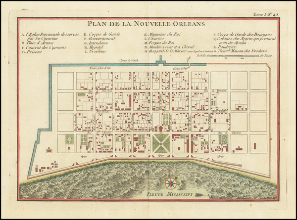 12-Louisiana and New Orleans Map By Jacques Nicolas Bellin