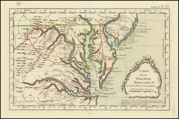 96-Maryland, Delaware, Southeast and Virginia Map By Jacques Nicolas Bellin