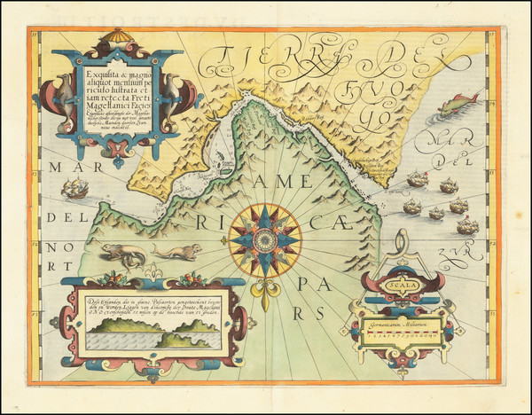 86-Polar Maps, Argentina and Chile Map By Gerard Mercator