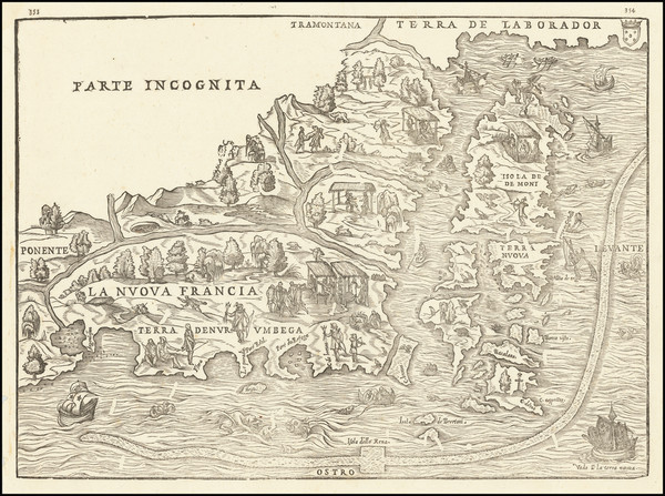 77-New England, Maine and Canada Map By Giovanni Battista Ramusio / Giacomo Gastaldi