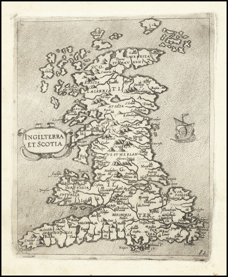 14-England, Scotland and Wales Map By Giovanni Francesco Camocio
