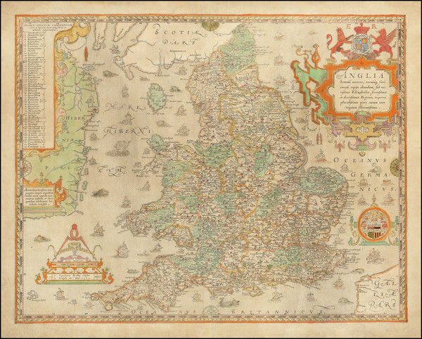 14-British Isles and England Map By Christopher Saxton