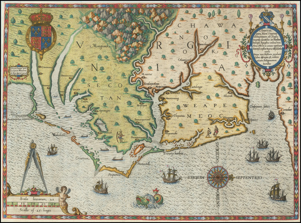 97-Mid-Atlantic, Southeast, Virginia and North Carolina Map By Theodor De Bry / John White
