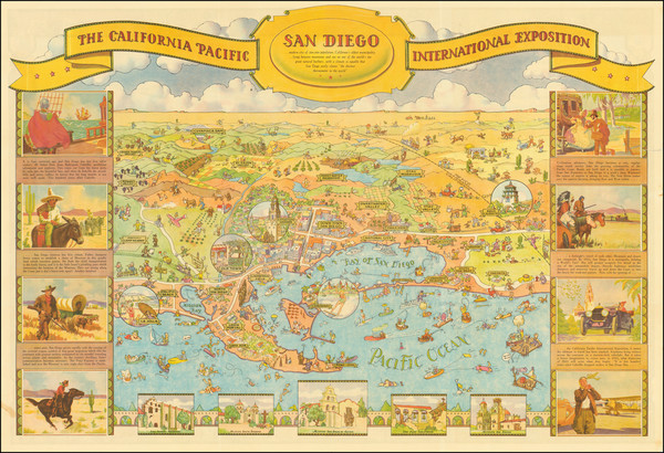 16-Pictorial Maps and San Diego Map By Don Bloodgood