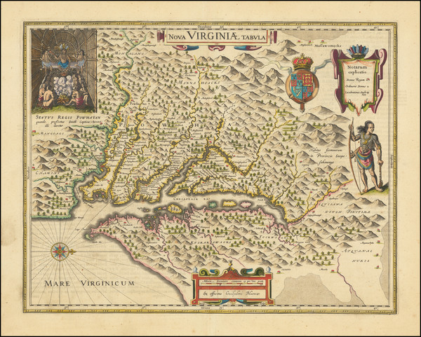 100-Mid-Atlantic, Southeast and Virginia Map By Willem Janszoon Blaeu