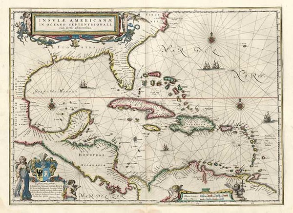 60-South, Southeast, Caribbean and Central America Map By Willem Janszoon Blaeu