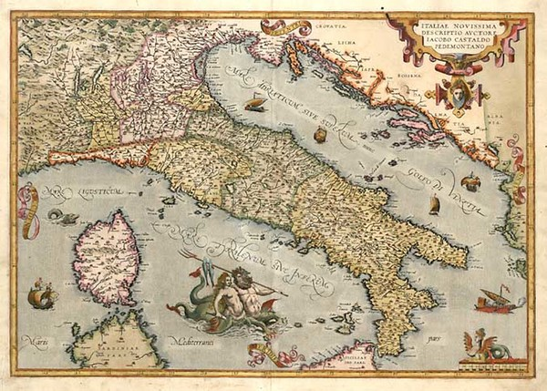 49-Europe, Italy, Mediterranean and Balearic Islands Map By Abraham Ortelius