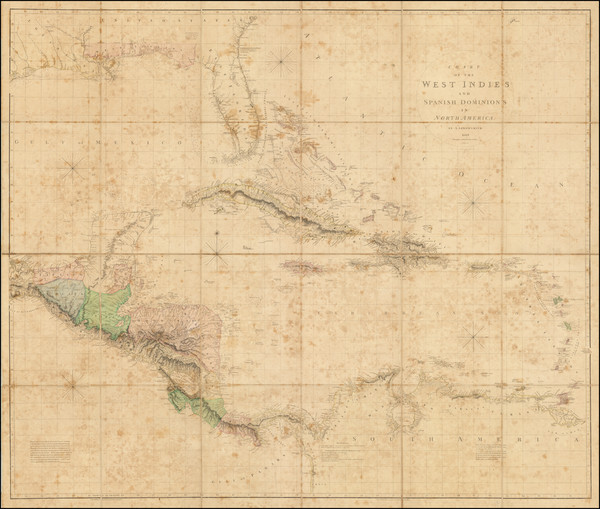 0-Florida, Southeast, Southwest, Mexico, Caribbean and South America Map By Aaron Arrowsmith